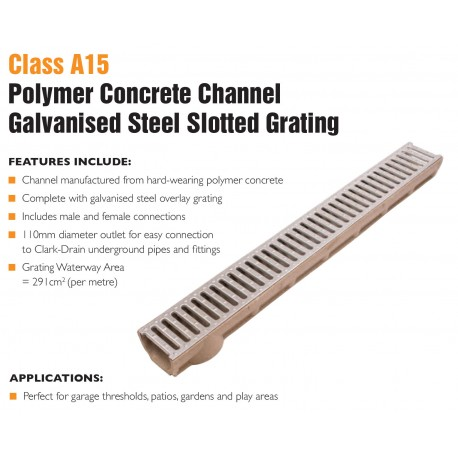 Poly concrete channel with galvinised grate