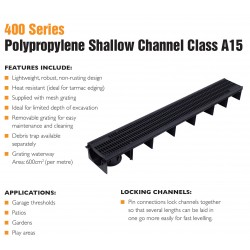 polypropylene shallow channel with polypropylene grate